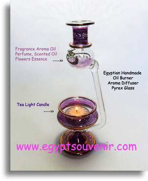 Egyptian Hand-made Glass Scented Oil Diffuser, oil burner