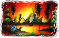 egyptian Free Hand Papyrus Painting - Egypt Nature Scenes - Dark Papyrus Paper