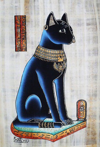 Bastet - Bast Goddess of home protection and fertility Papyrus Painting