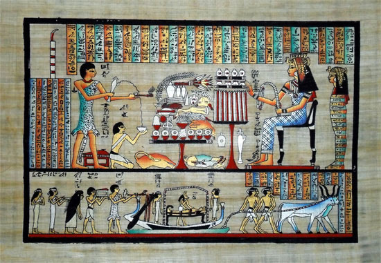 Egyptian Papyrus Painting - Death Ceremony