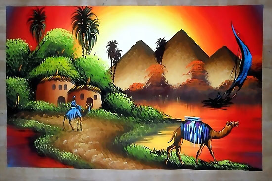 Egyptian free hand papyrus painting egypt nature scene 3 for Egyptian fresco mural painting
