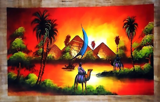 Egypt nature free hand papyrus painting scene 5 for Egyptian fresco mural painting