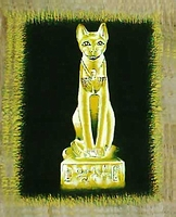 Egyptian free hand papyrus painting, Bastet - Cat