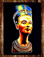 Egyptian free hand papyrus painting, Queen Nefertiti