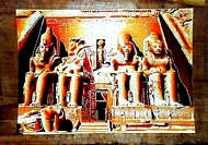 Egyptian free hand papyrus painting, Abo Simple Temple