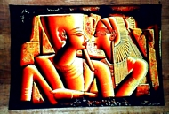 Egyptian free hand papyrus painting, The 2 Lovers 2