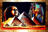 Egyptian free hand papyrus painting, Sphinx, Pyramids, Tut Ankh