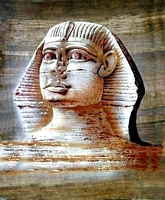 Egyptian free hand papyrus painting, Sphinx
