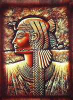 Egyptian free hand papyrus painting, Cleopatra