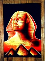 Egyptian free hand papyrus painting, Sphinx - Pyramids