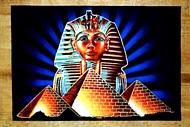 Egyptian free hand papyrus painting Tut_Pyramids