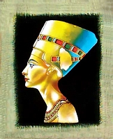 Egyptian free hand papyrus painting, Queen Nefertiti Bust