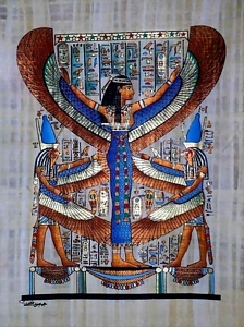 Isis, Horus Papyrus Painting