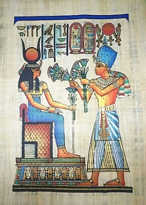 Offering Gifts to Hathor Papyrus Painting