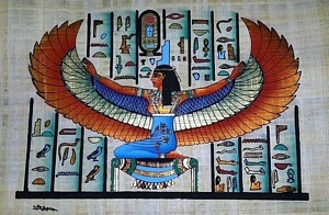 Winged Isis Papyrus Painting