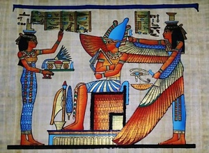 Pharaoh and Isis Papyrus Painting