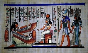 Nefertari, Horus and Isis Papyrus Painting
