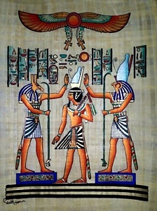 Pharaoh Coronation Papyrus Painting
