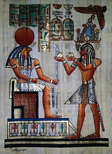 Offering Gifts to God Ra Papyrus Painting