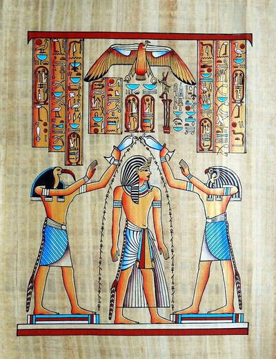 Ramses II Coronation, Gods Pouring life key water on him, Papyrus Painting 2