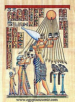 Akhenaten Papyrus - Egyptian hand made papyrus paintings