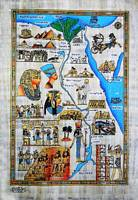 Egypt Tourism Map papyrus painting