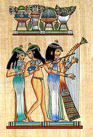 Musicians Girls Papyrus Painting- Egyptian hand made papyrus paintings