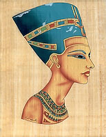 Queen Nefertiti Bust Papyrus - Egyptian hand made papyrus paintings